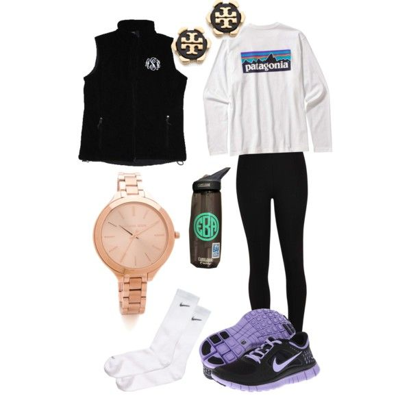 """""""lazy days"""" by cchotze on Polyvore- I like the necessity of the Tory Burch earrings and monogrammed vest with workout clothes lol...yes I'm a little sarcastic but overall it works."""
