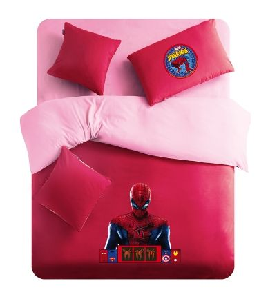 Pink And Red Spiderman Logo Spiderman Queen Twin Full Bedding Set