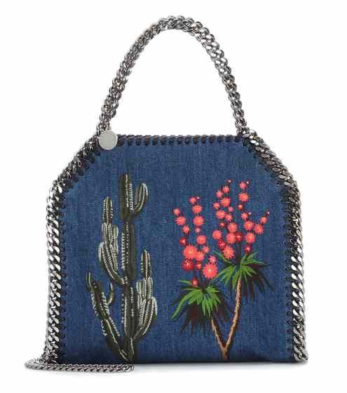 Sac cross-body en denim brodé Falabella Mini | Stella McCartney