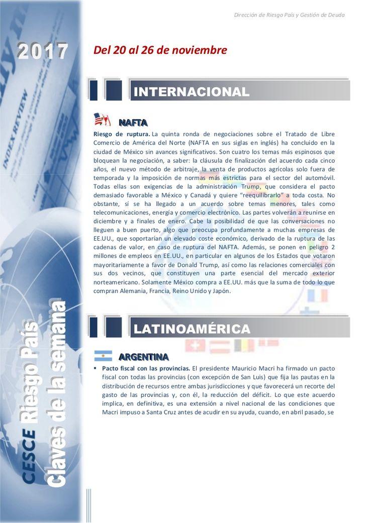 Resumen de las noticias internacionales más destacadas del 20 al 26 de noviembre de 2017, elaborado por el departamento de Riesgo País de CESCE.