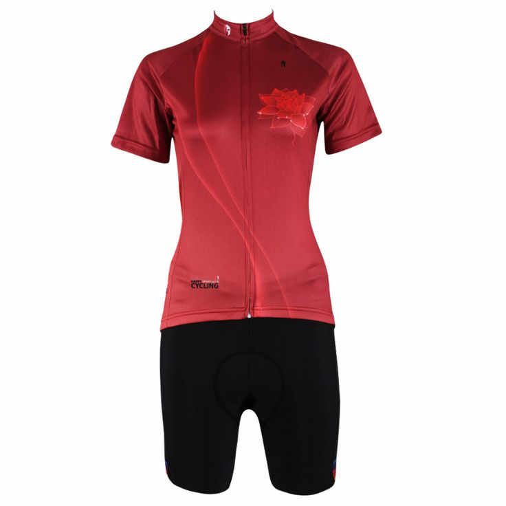"Cycling Jersey Women  ""Red Lotus Flower"" Short Sleeve Cycling Clothing Women Cycling Equipment Cycling Sets X281 #Affiliate"