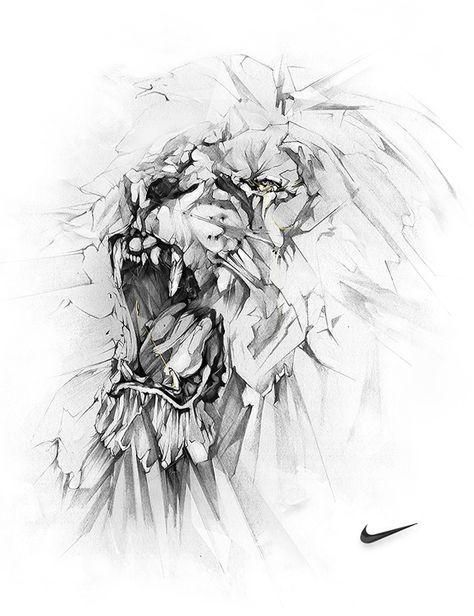 dibujos con lapiz grafito leon Inspiración: Ilustraciones con lápiz por Alexis Marcou