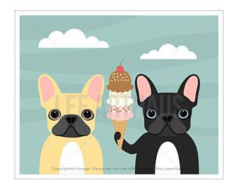 3F Dog Prints  Pug and Boston Terrier in Bathtub Wall Art