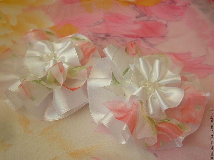 Купить Бантики для волос Собираемя на бал - бело-розовый, резинка для девочки…