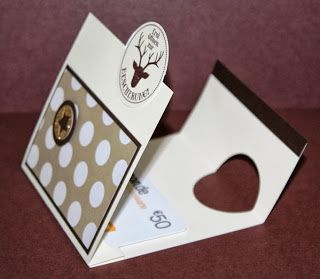 Technique: use a heart punch & circle punch as a card closure. Stempel-Exempel: Klappkarte