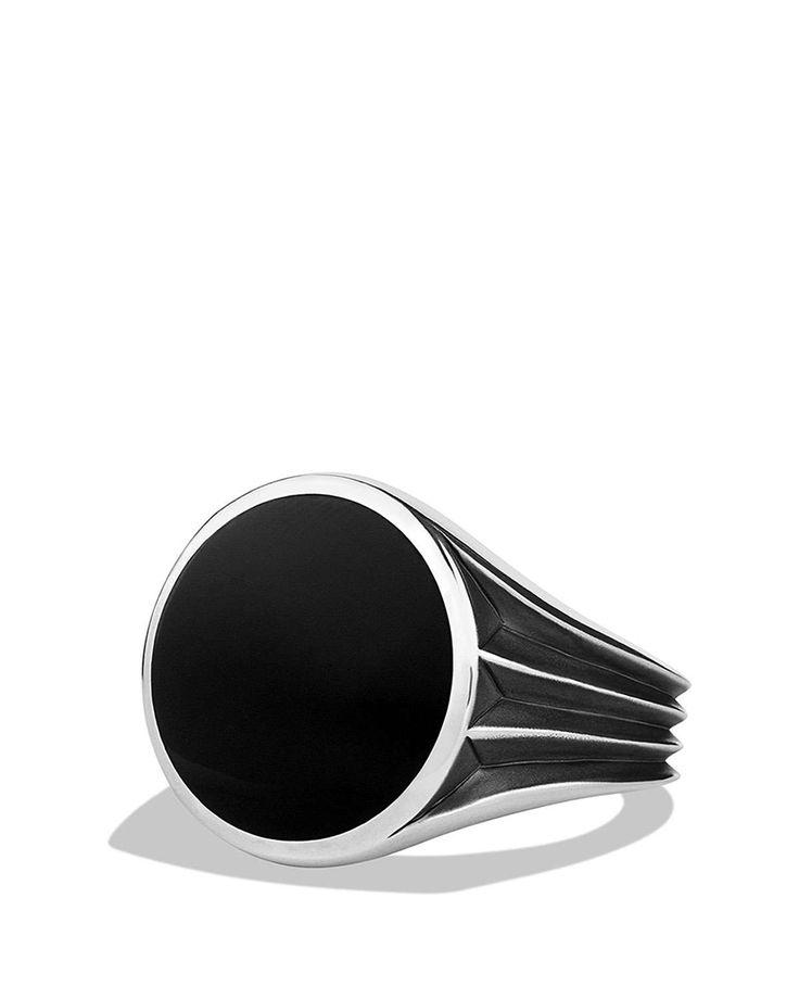 Knife Edge Signet Ring with Black Onyx