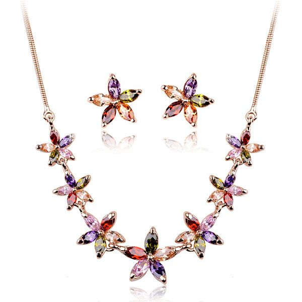 Fashion Italina Women 18K Gold Plated Multicolor Crystal Jewelry Set 639,09 руб.