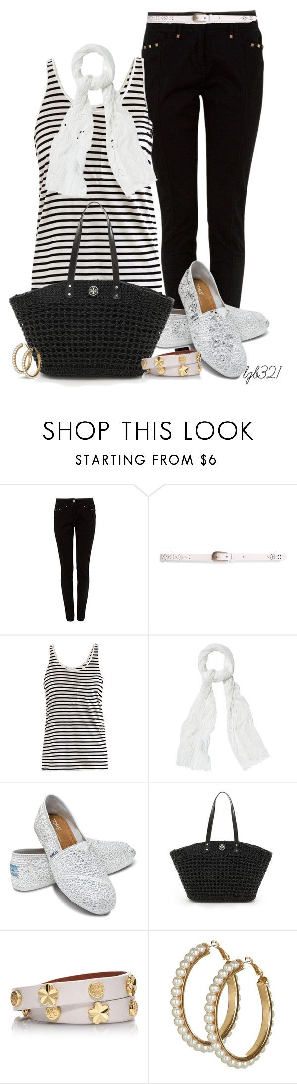 """""""Black & White"""" by lgb321 ❤ liked on Polyvore featuring Pull&Bear, AR SRPLS, Principles by Ben de Lisi, TOMS and Tory Burch"""