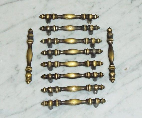 Desk Drawer Pulls Lot of 6 Vintage Brass Tone Amerock Kitchen Cabinet Handles