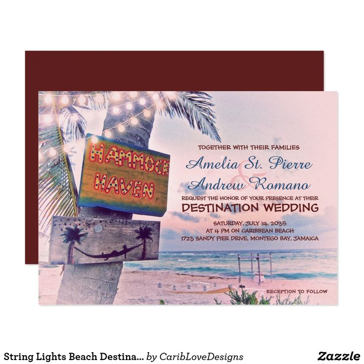 103 best budget beach wedding invitations images on pinterest string lights beach destination wedding invitation stopboris Choice Image