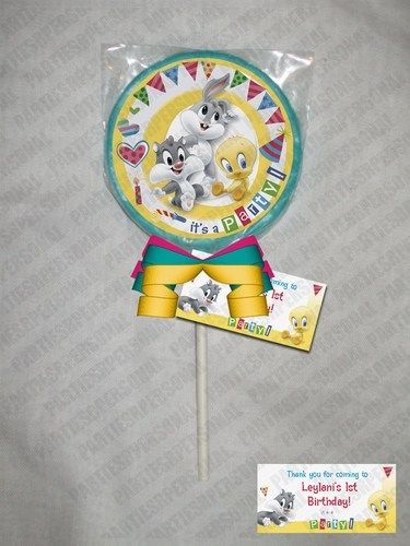 Baby Looney Tunes Personalized Chocolate Lollipop or Cookie favor