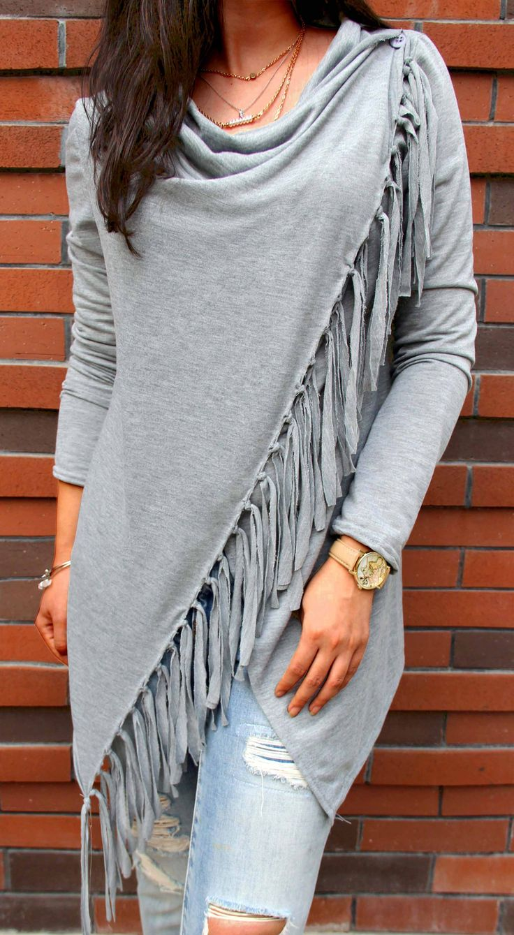 Only $26.99❤️! Gray Single Button Tassel Asymmetrical Hem Shawl Black and white coat  Search more at CHICNICO!
