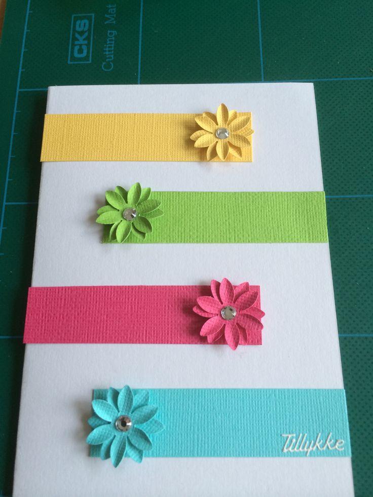 Kort / card Blomster / flowers Hjemmelavet / homemade Tillykke
