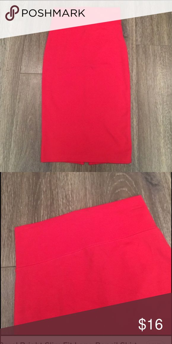 Coral bright slim fit skirt size small Pencil skirt. Stretch material. Never worn. Great with a blazer or a crop top. GREAT PRICE. Literally have no room for it Skirts Midi