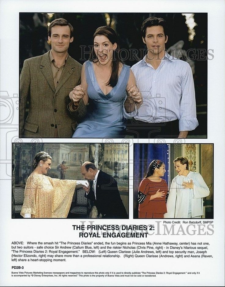 """2004 Press Photo Anne Hathaway Callum Blue Chris Pine """"Princess Diaries 2"""""""