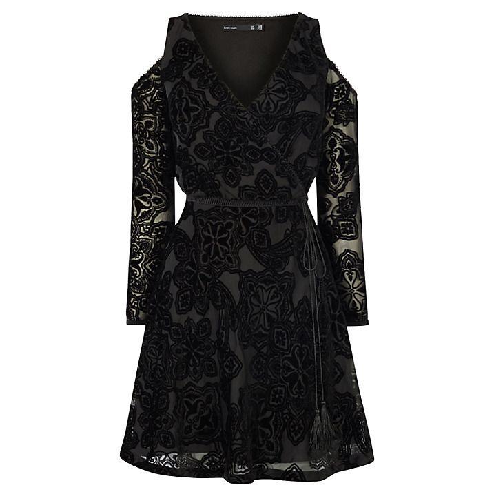 Karen Millen Velvet Devore Mini Dress, Black