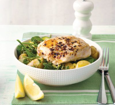 Pan-fried fish with warm potato salad