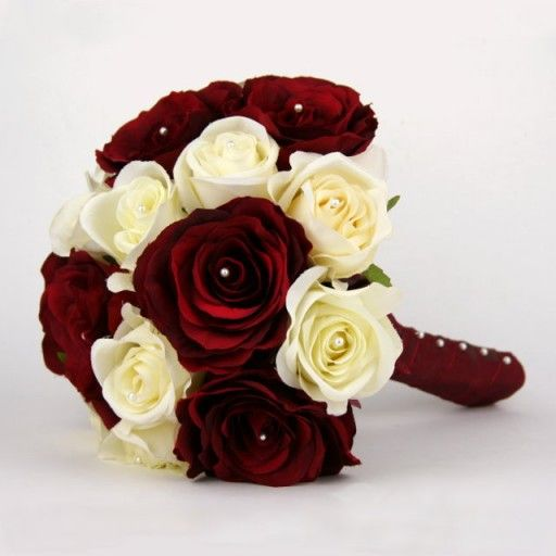 Artificial Silk Wedding Flowers - Handtied of Burgundy and Ivory Roses.