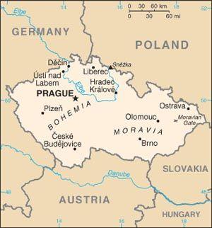 Map of Bohemia (present day Czech Republic)