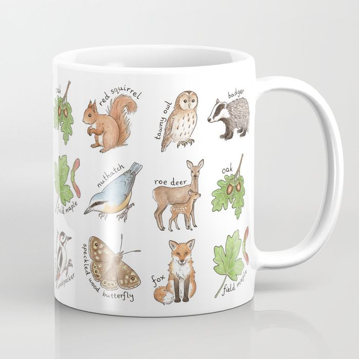 British Woodland Wildlife design by Hazel Fisher Creations.  Perfect for wildlife lovers, this design features illustrations of a badger, fox, owl, nuthatch, oak leaves and more. Available in 11 and 15 ounce sizes, our premium ceramic coffee mugs feature wrap-around art and large handles for easy gripping. Dishwasher and microwave safe, these cool coffee mugs will be your new favorite way to consume hot or cold beverages.