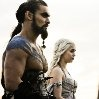 Still of Jason Momoa and Emilia Clarke in Game of Thrones