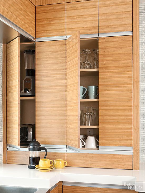Strong And Durable Bamboo Cabinets House Appliances In This Streamlined Kitchen Corner Underneath Inset
