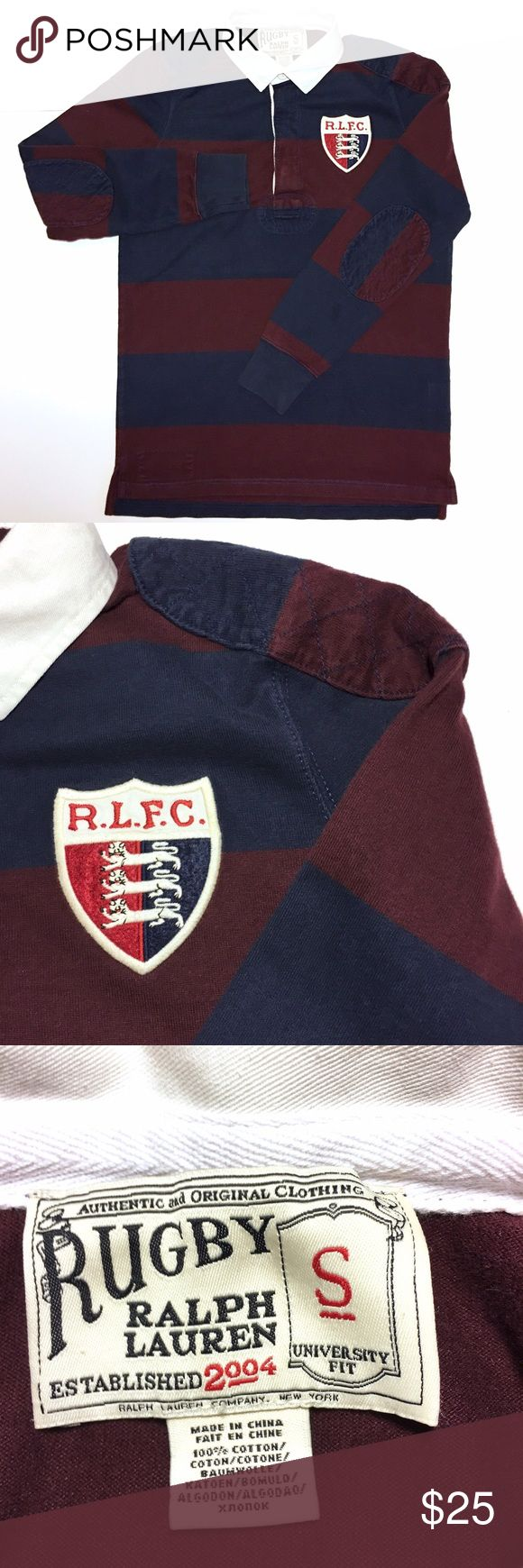 Ralph Lauren Rugby Men Long Sleeve Polo S Navy Red University Fit | Authentic and original | 100% Cotton | Navy, Maroon striped | Patched Elbows and Shoulders | fitted wrist cuffs | R.L.F.C. Stitched logo on chest (left) Rugby Ralph Lauren Shirts Polos