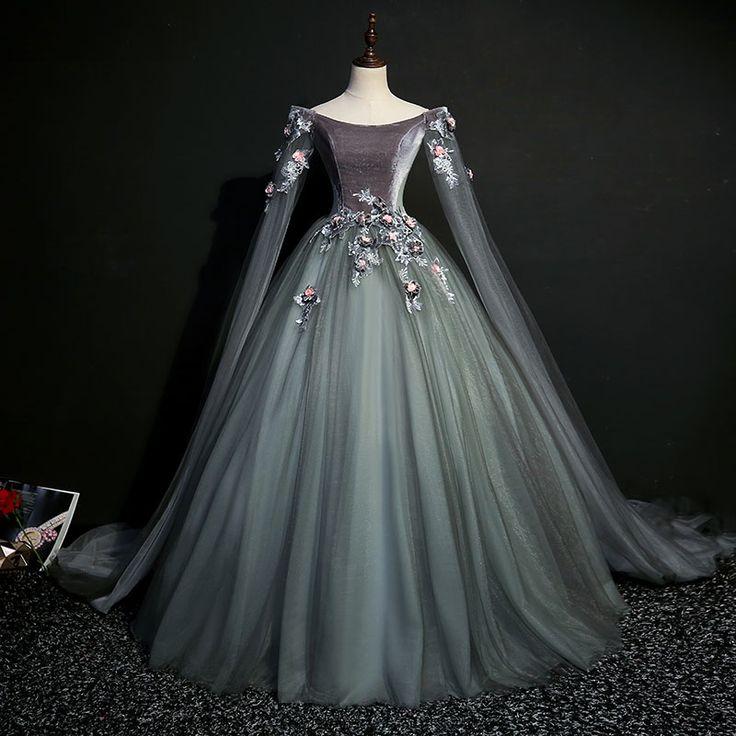 100% real cinza escuro do século xviii coroação cosplay vestido de baile Bell…