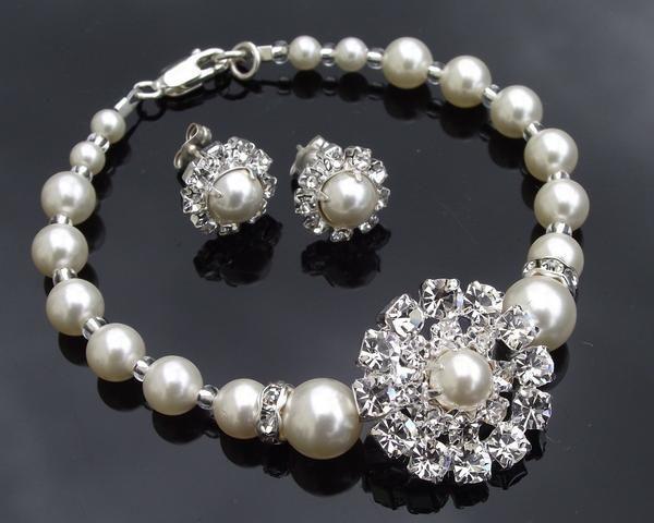 Bracelet & Earring Sets - Vintage Style Rhinestone & Pearl Bridesmaids Bracelet & Earring Set, Prague