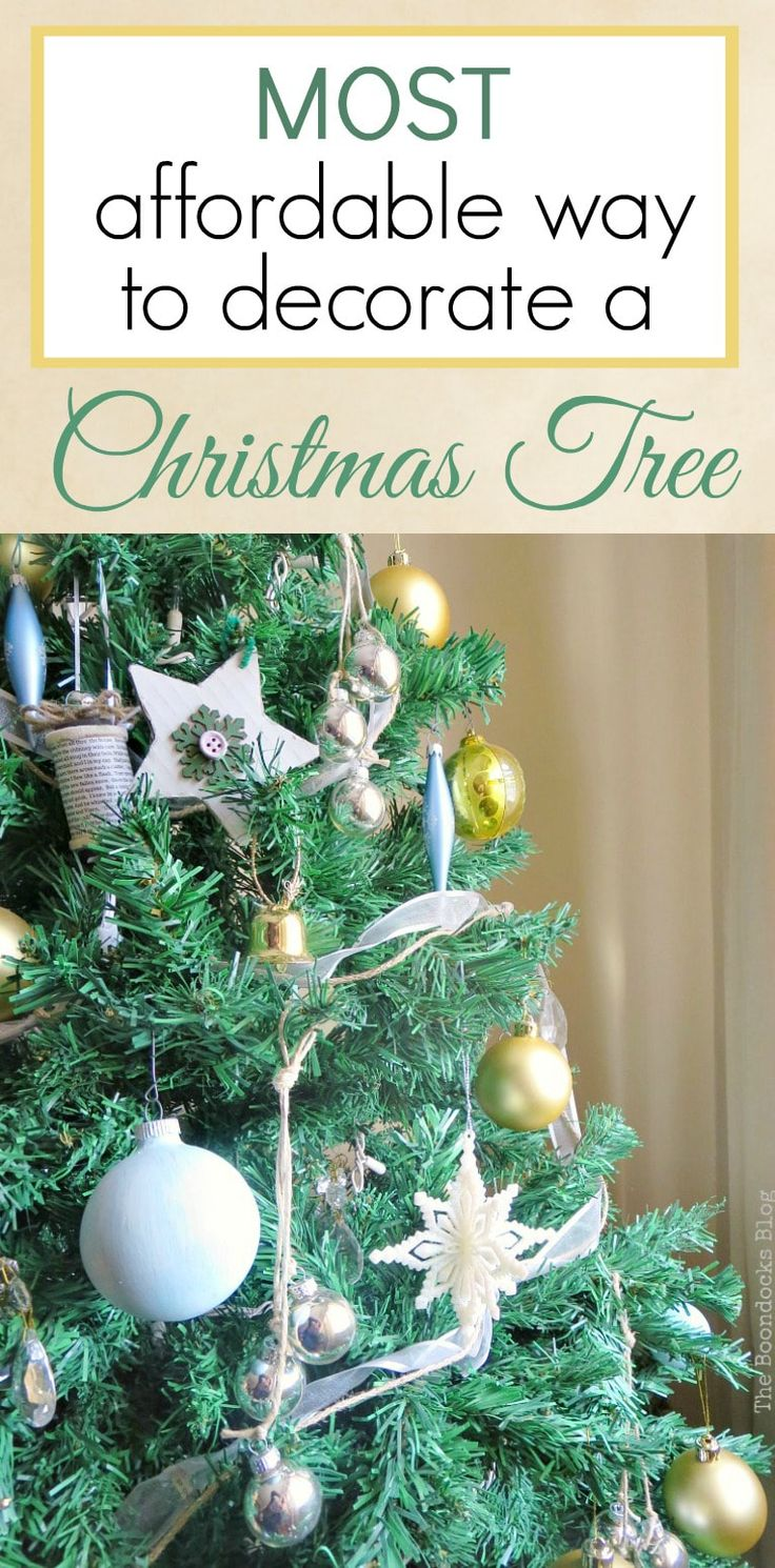 Blue, silver and gold Christmas tree, and ideas on the most affordable way to decorate a Christmas tree with thrifted, repurposed and upcycled ornaments, #ChristmasTree #MostAffordable #ThriftedXmasTree #Repurposedornaments #Upcycledornaments The Most Affordable Way to Decorate a Christmas Tree, theboondocksblog.com