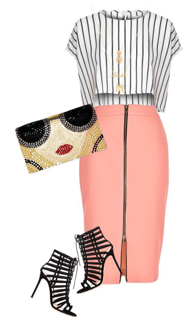 Fashion falda coral y blusa de rayas en Falda y Blusa