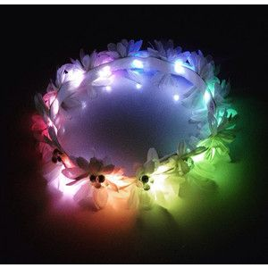 Rainbow LED flower crown White Medium Daisy Flower Crown EDC Tomorrow World Rave outfit Electric Forest Burning Man light up flower crown