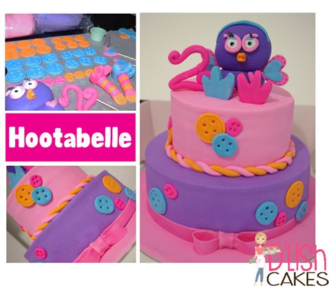 2 Teir Hootabelle Cake, made by D'lish Cakes in Broadford, Vic. Australia  Really Cute little Buttons, and 3D edible Hootabelle on top!   Soo cute!!