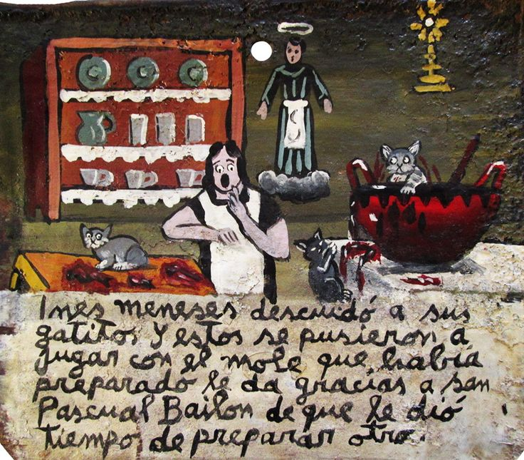 Инес Менесес не уследила за своими котятами, и они полезли играть с моле, которое она приготовила. Она благодарит Святого Паскуаля за то, что успела приготовить новое моле.