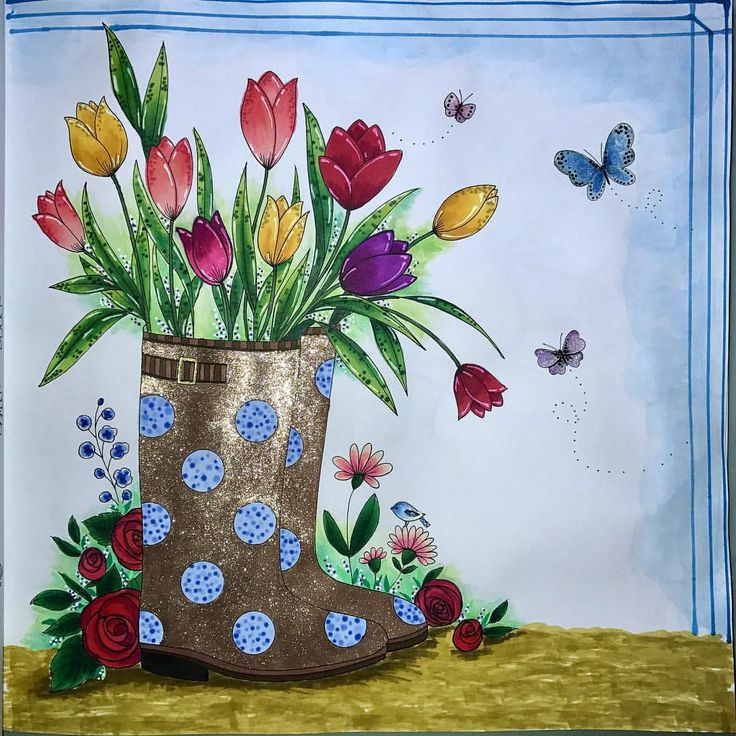 Tulips In The Boot Book Bold Springtime To Color Artist Elerifowlerillustrator Eleri Fowler