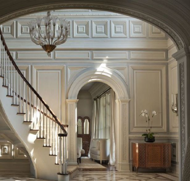 Foyer archway and dental moulding home decor for Decorative archway mouldings