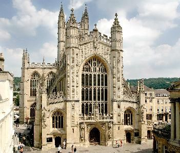 Bath, England - You can't see it well, but there are carvings of angels climbing ladders carved on the front of the church.