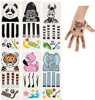 Zoo Animal Puppet Tattoos (12) :  Wear a puppet on your hand with these temporary tattoos! These colourful party favors make putting on a wild puppet show easy and super fun.