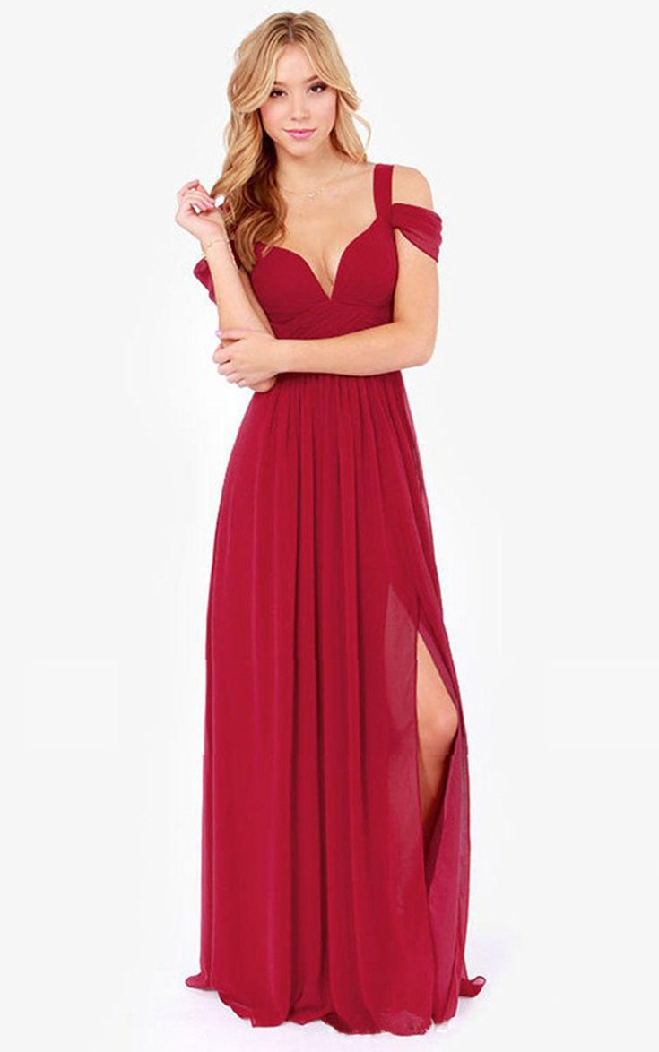 Sexy Chiffon Off Shoulder Backless Slit Maxi Evening Party Dress Red