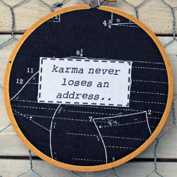 karma never loses an address hoop art