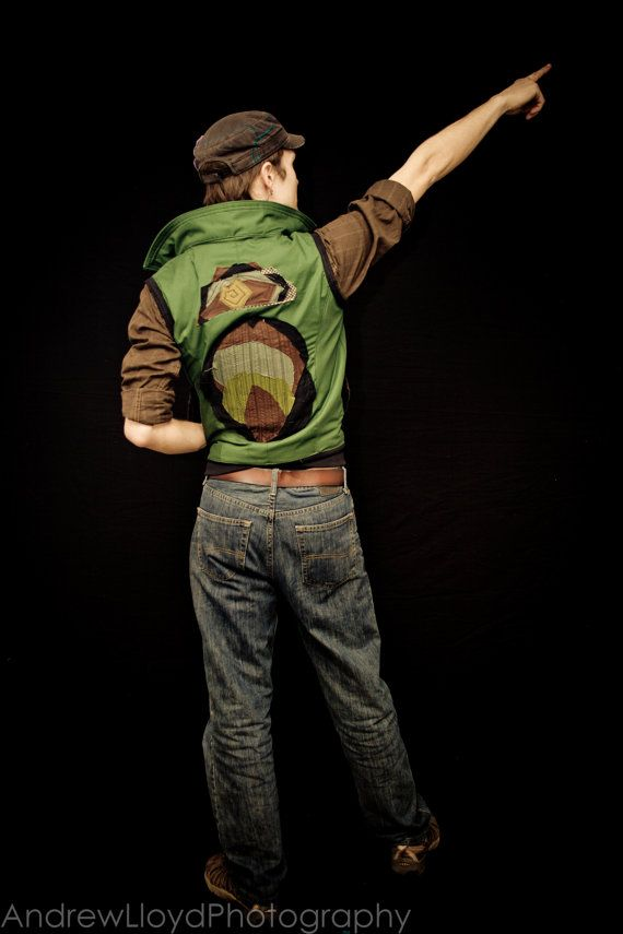 Locally Made Green Zip Up Vest by LostBoysRagz on Etsy, $105.00
