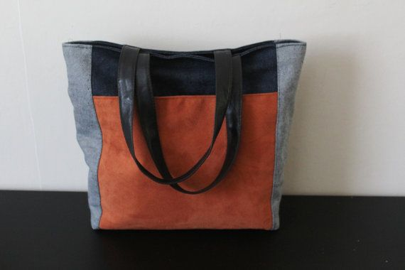 Tote bag denimcanvas tote bag shopper bag faux suede by Jamberoon