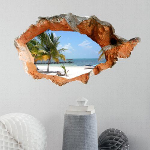 schön günstig 3D Wandtattoo-Strand Landschaft-PVC Fototapete großer Wahl kaufen