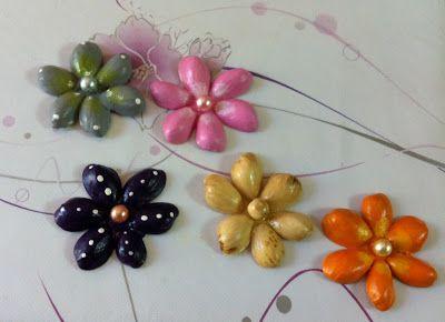 Flores con cascaras de pistacho
