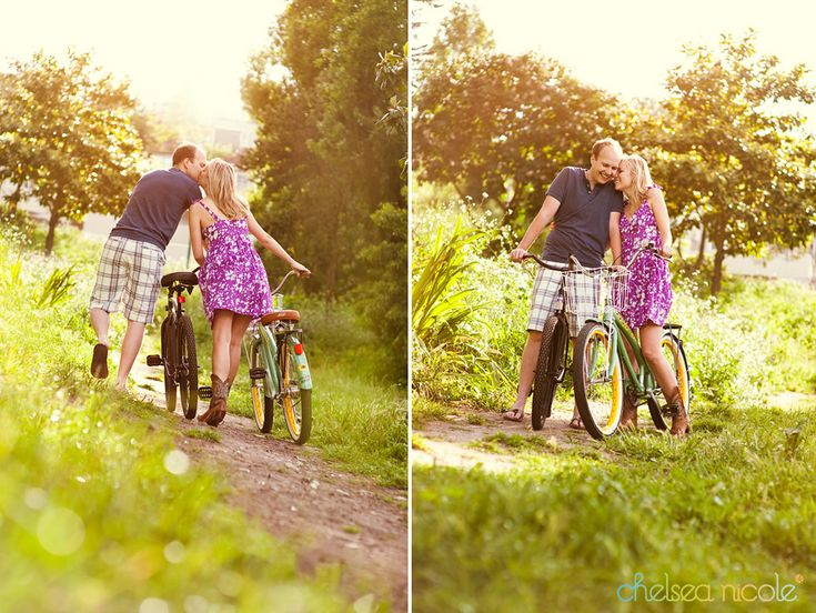 Engagement photos with bike