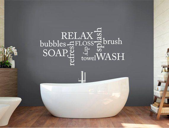 Bathroom Wall Decor Words Bathroom Decals Bathroom Wall Etsy