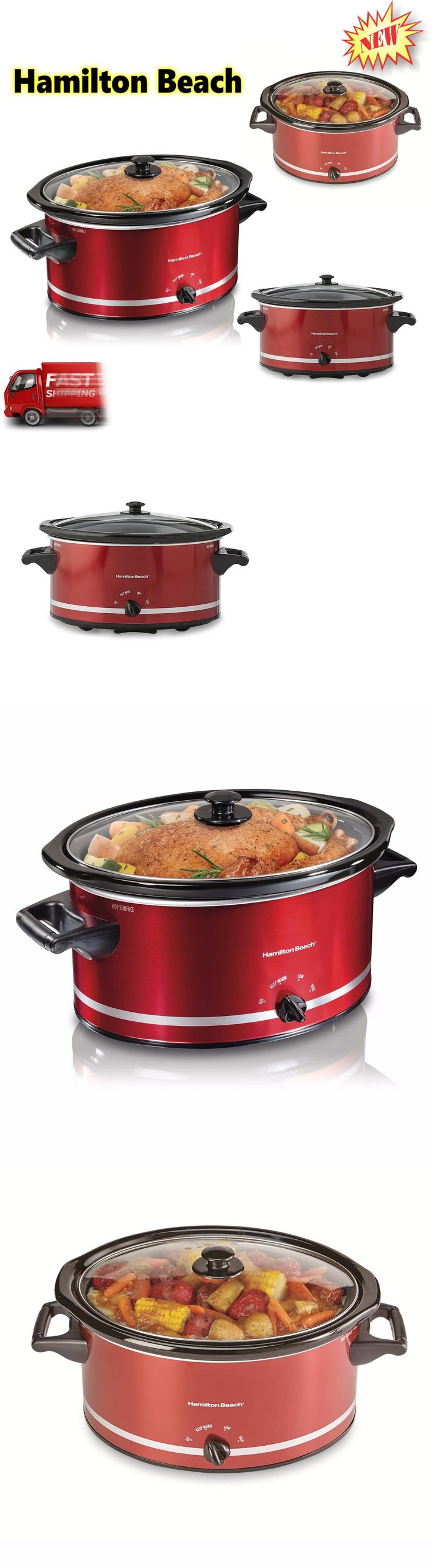 appliances: New Hamilton Beach Slow Cooker Large 8 Quart Red Oval Crockpot Kitchen Cooking BUY IT NOW ONLY: $32.36