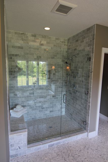 Is that penny tile on the floor?? | Master Bedroom & Bathroom Ideas | Showers, Penny Tile and Tile
