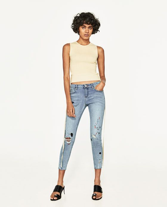 ZARA - WOMAN - CROPPED JEANS WITH PAINTED AND EMBROIDERED DETAILS