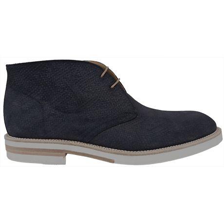 8477 zapato botín en ante grabado de color azul y con goma blanca de Calce   Calzados Garrido